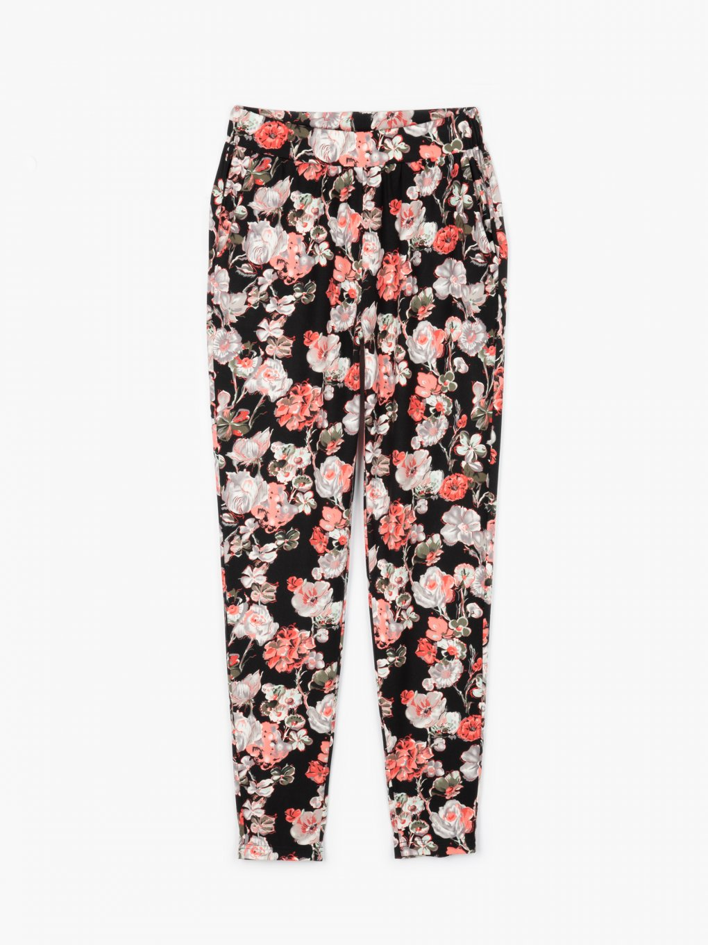 Floral print elastic trousers
