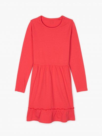 Cotton jersey dress with ruffle