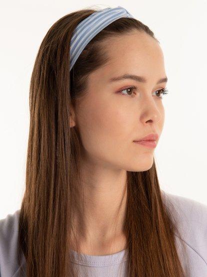 Prúžkovaná čelenka do vlasov s uzlom
