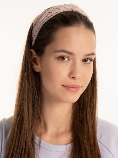 Floral print front knot headdress