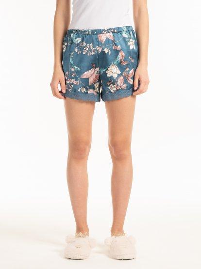 Floral print pyjama shorts