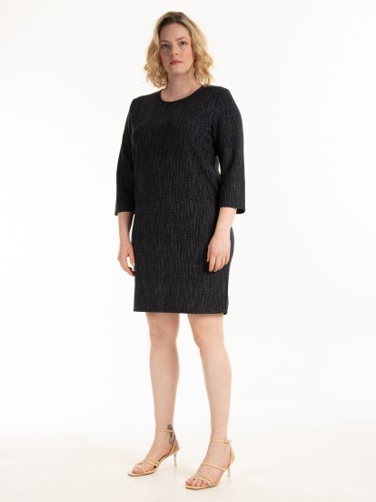 Structured dress with metallic thread