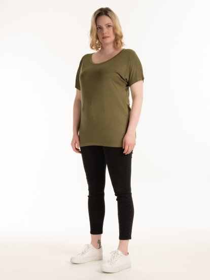 T-shirt basic z wiskozy