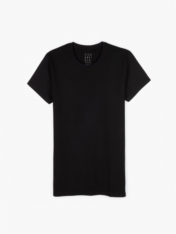 Combined waffle-knit t-shirt