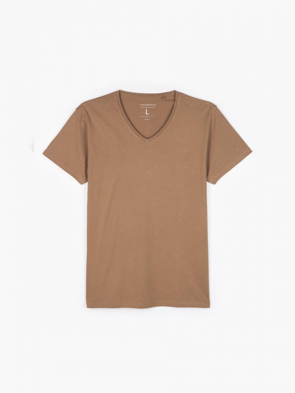 Základní slim fit tričko s véčkovým límcem