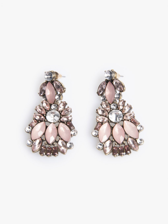 Faux stone long earrings
