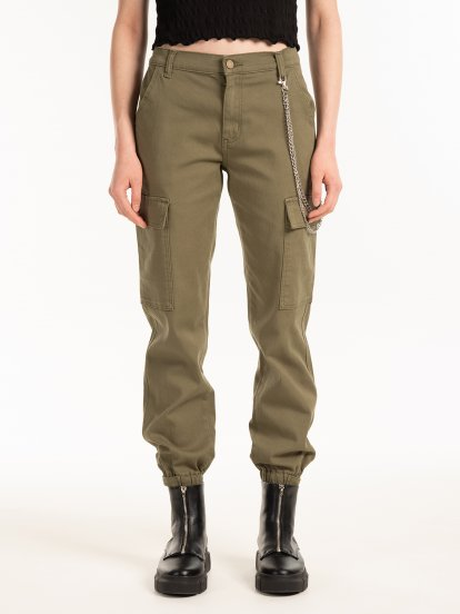 Jogger jeans with belt and side pockets