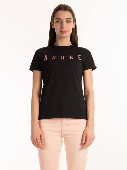 Bavlnené tričko s nápisom