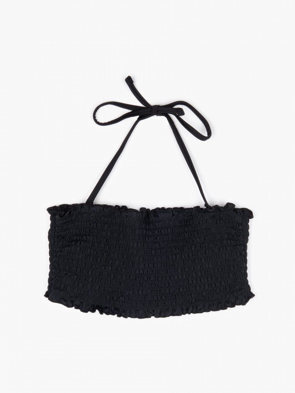Góra od bikini bandeau z marszczeniami