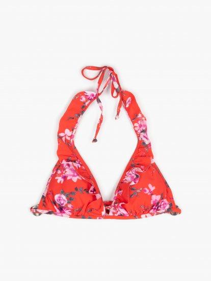 Floral triangle bikini top