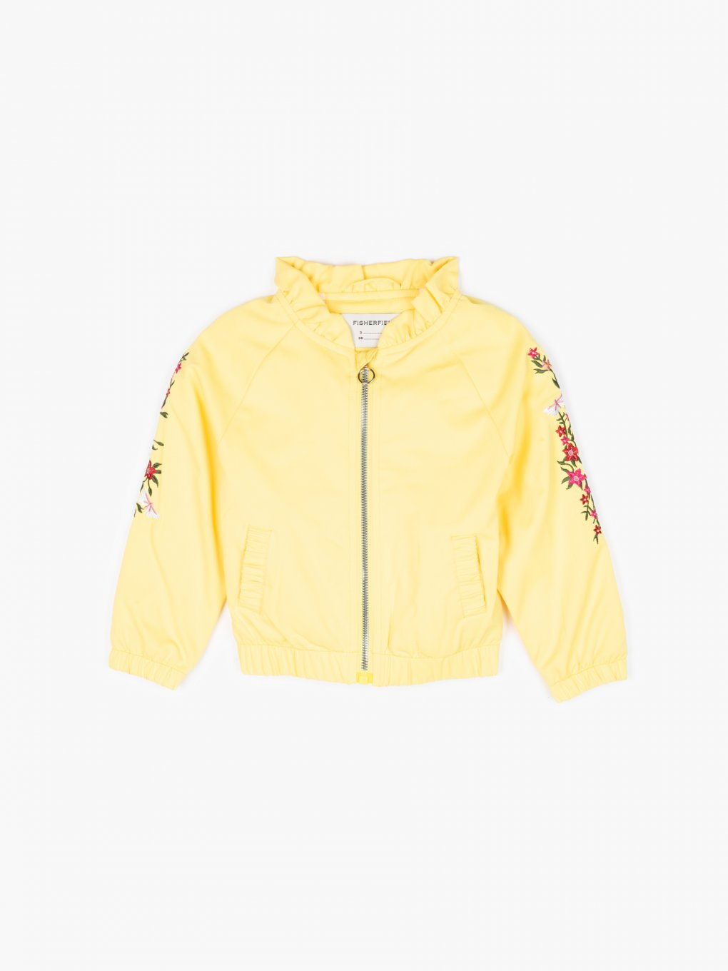 Bomber jacket with sleeve embroidery