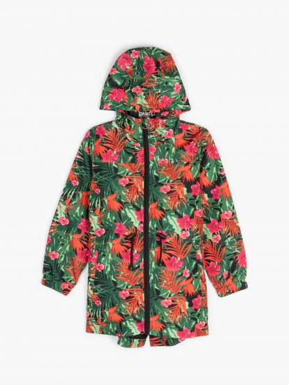 Floral print parka in a pocket
