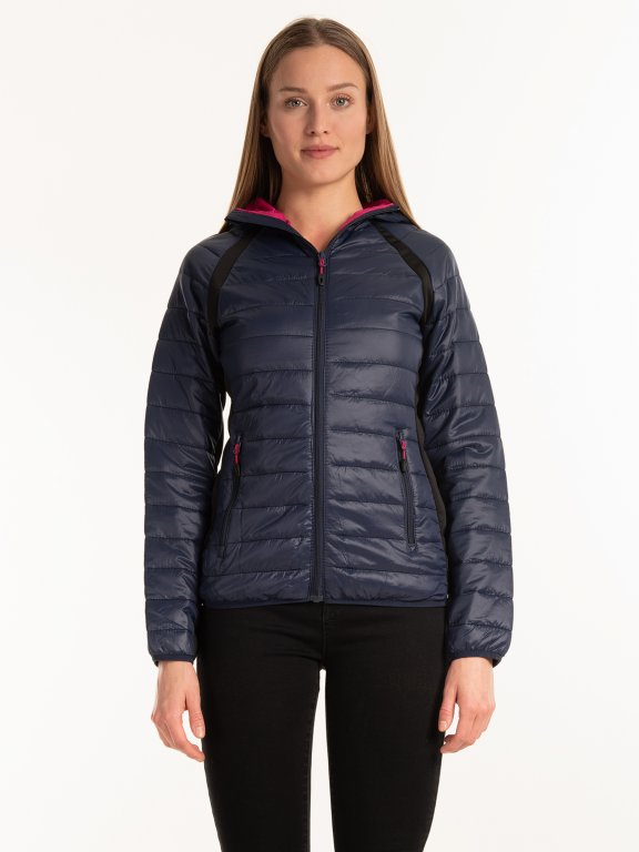 Combined light padded quilted jacket with hood