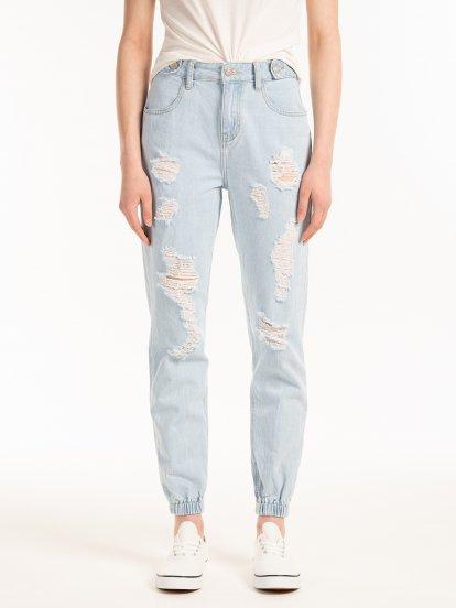 Cotton damaged jogger fit jeans