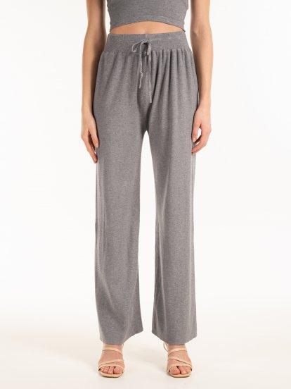 Szerokie spodnie z dzianiny