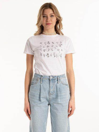 Bavlnené tričko s kvetinovou potlačou