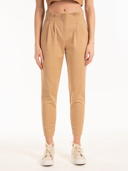 High waist elastic trousers
