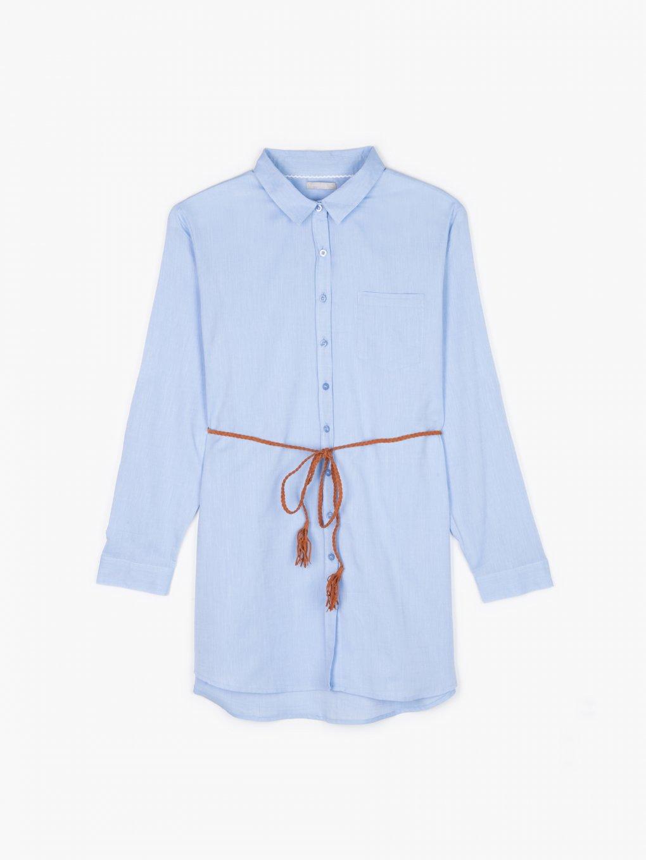 Cotton blouse with belt