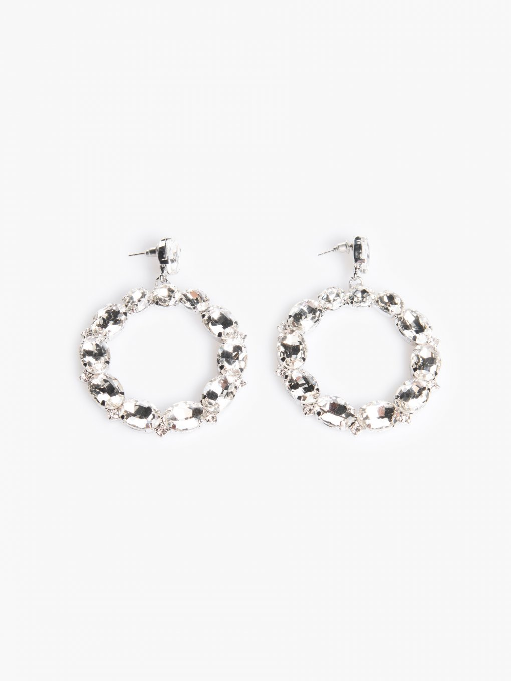 Circle earrings with faux stones