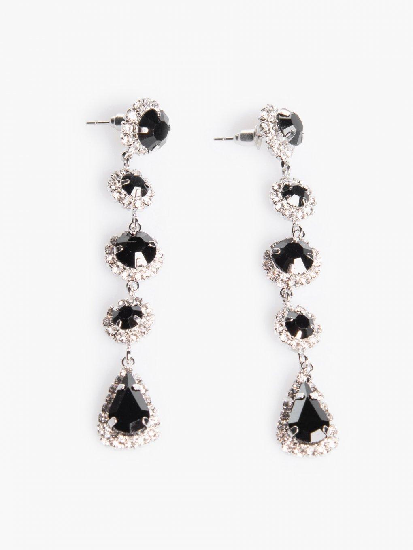 Faux stone long drop earrings