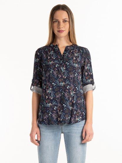 Floral viscose blouse