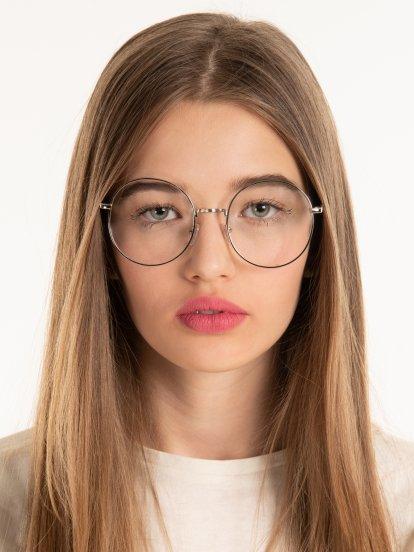 Okrúhle okuliare s transparentnými sklami