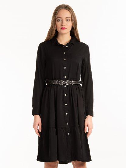 Košeľové šaty midi s volánom