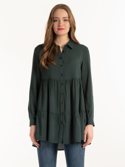 Button down tunic with ruffle