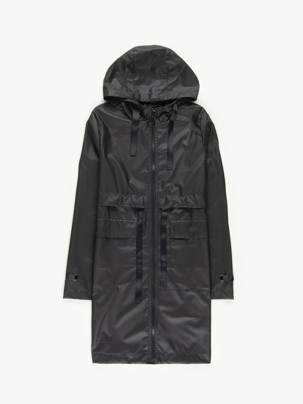 Vegan leather parka with hood