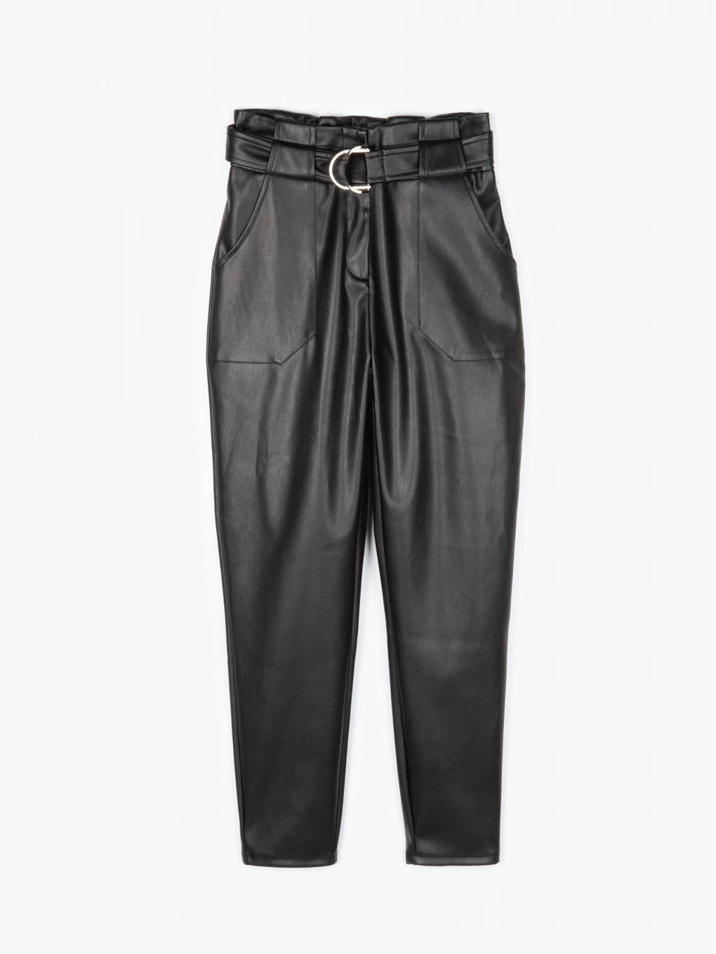 Vegan leather trousers with belt