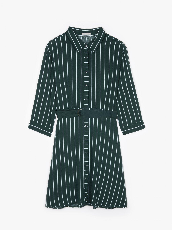 Prúžkované košeľové šaty s opaskom