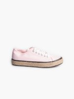 Canvas sneakers with straw detail