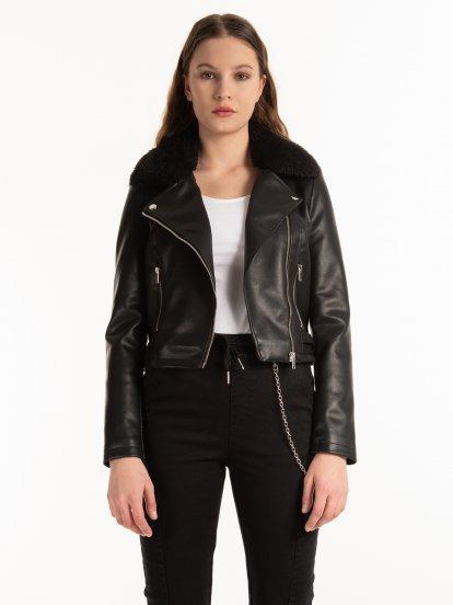 Vegan leather biker jacket with faux fur