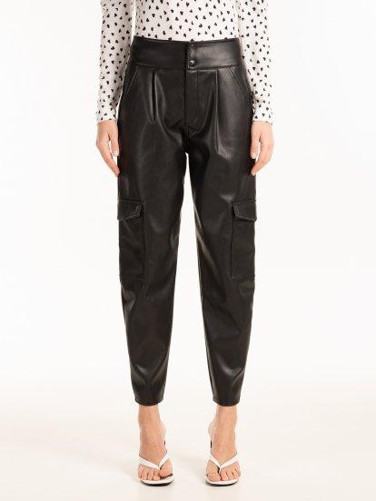 Vegan leather cargo pants