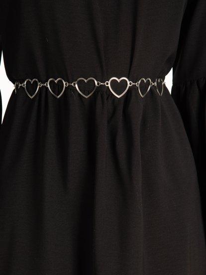 Metal hearts chain belt