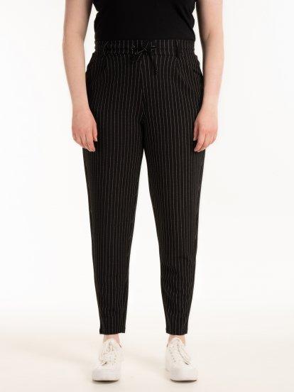 Prúžkované elastické nohavice
