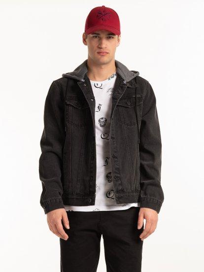 Denimová bunda s kapucí
