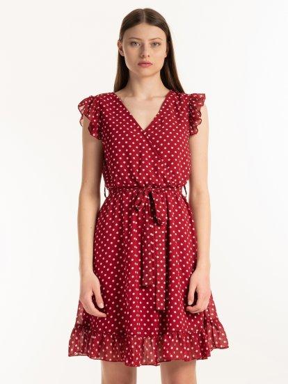Bodkované šifónové šaty