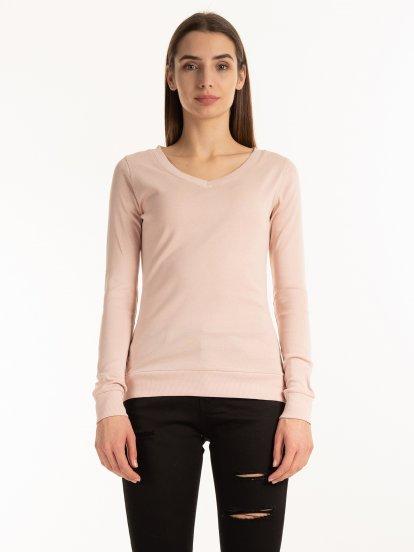 Basic ribbed v-neck t-shirt