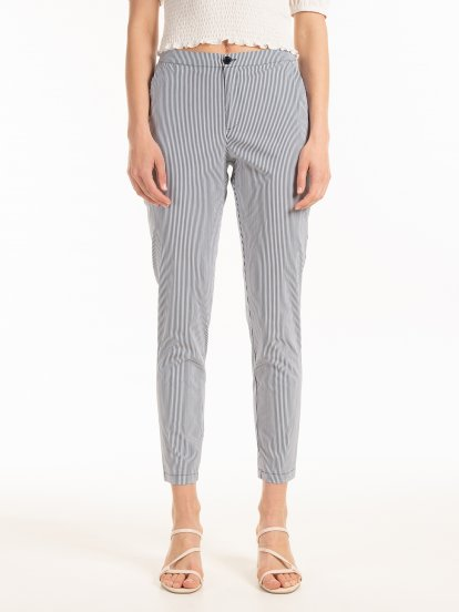 Striped straight slim fit trousers