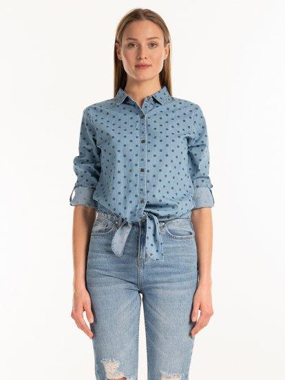 Bodkovaná denimová košeľa