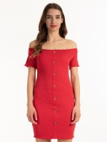Rozpinana sukienka z odkrytymi ramionami