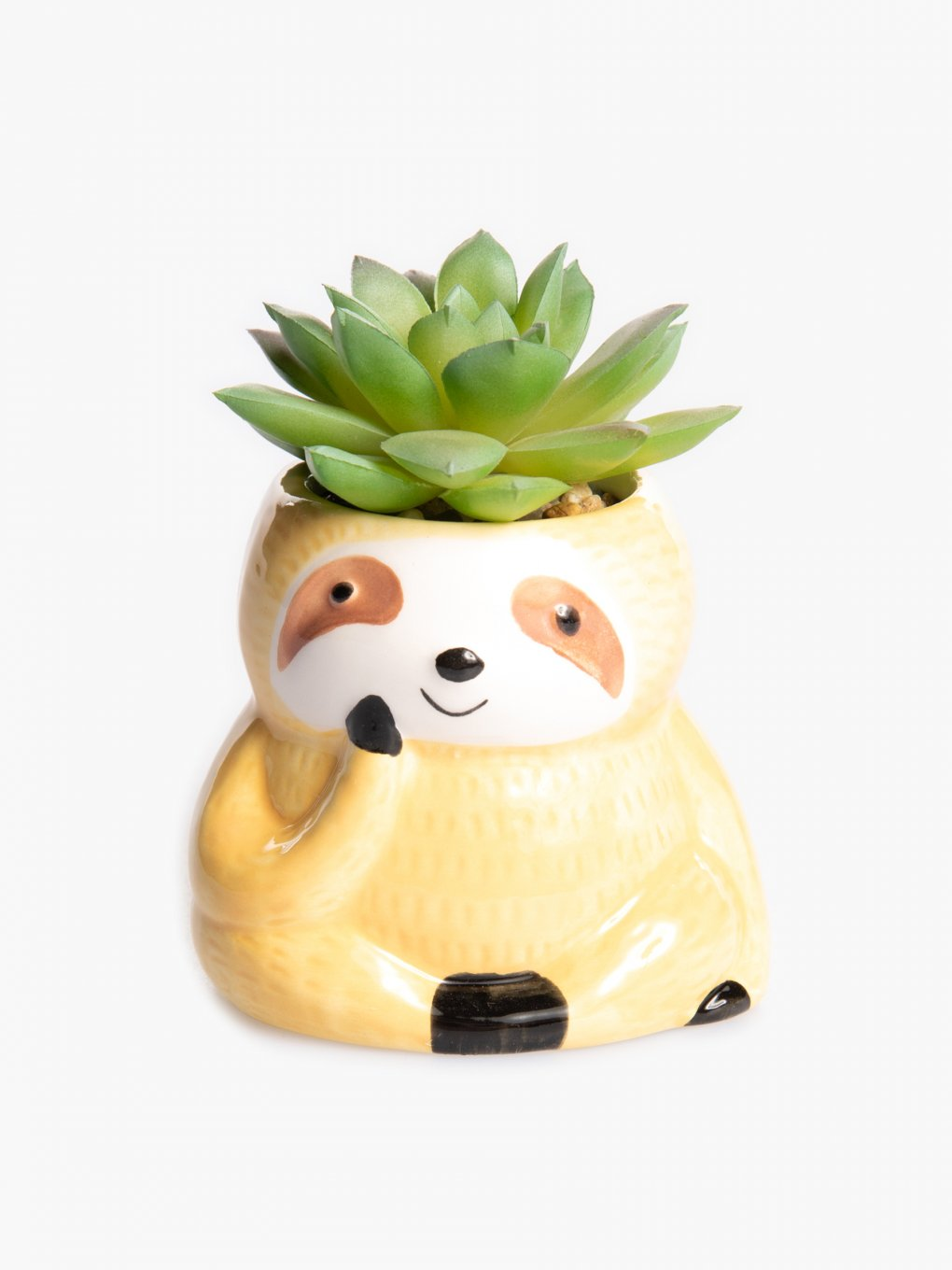 Faux flower in sloth flowerpot