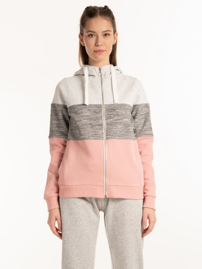 Paneled zip-up hoodie