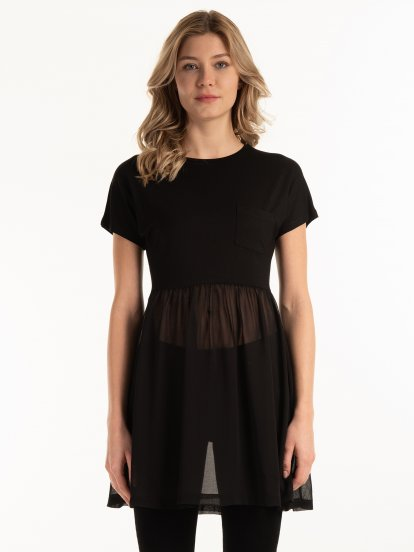 Long combined top with pocket
