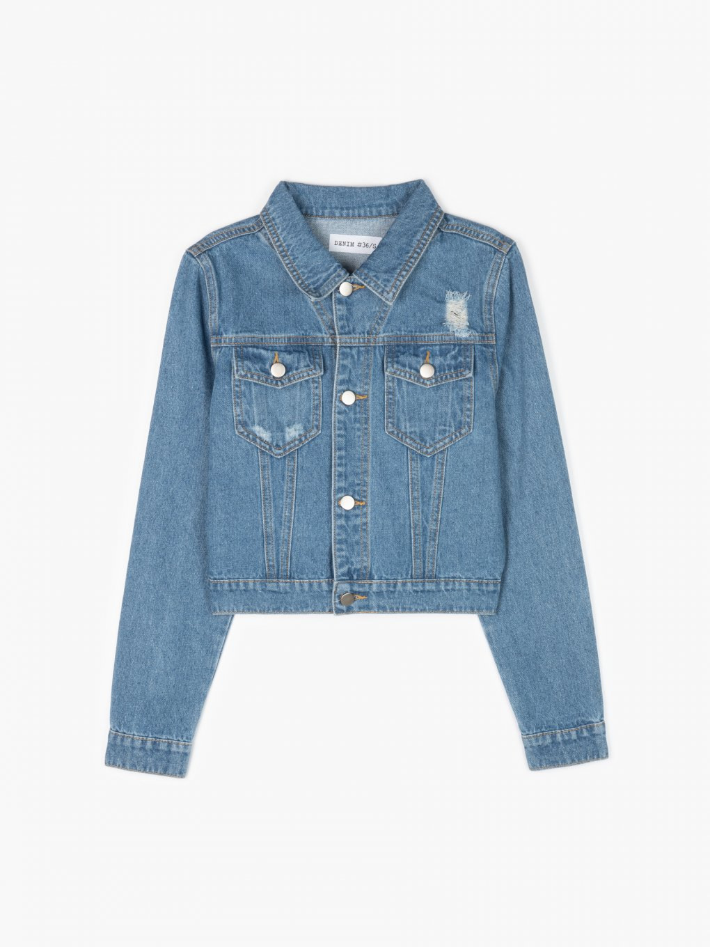 Denim jacket with tassels