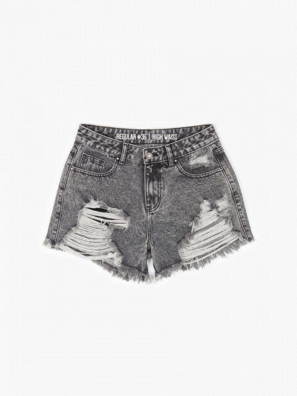 Damaged denim shorts