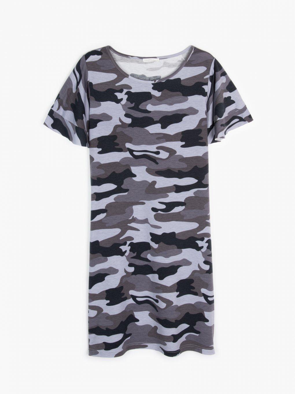 Tričkové šaty s maskáčovou potlačou