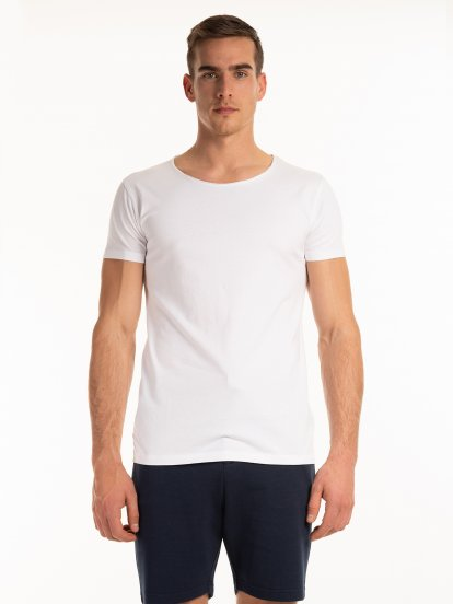 T-shirt basic z dżerseju slim