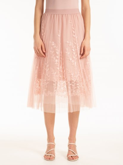 Pleated tulle skirt with embro